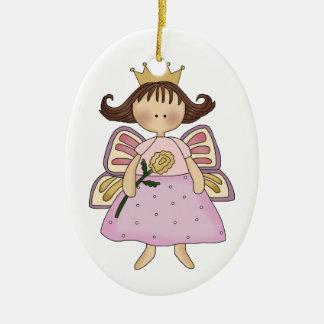 Ornamento de la princesa de la mariposa adorno navideño ovalado de cerámica
