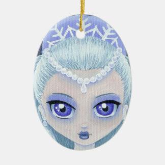 Ornamento de la princesa del invierno adorno navideño ovalado de cerámica