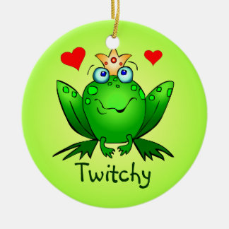 Ornamento de la princesa príncipe Cartoon Frogs Adorno Navideño Redondo De Cerámica