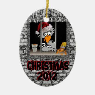 Ornamento de la prisión adorno navideño ovalado de cerámica