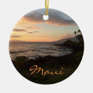 Ornamento de la puesta del sol de la isla de Maui Adorno Navideño Redondo De Cerámica