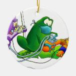 Ornamento de la rana de la anestesia ornamentos de navidad