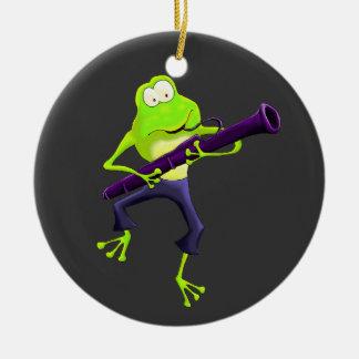 Ornamento de la rana del jugador del Bassoon Ornamento De Reyes Magos