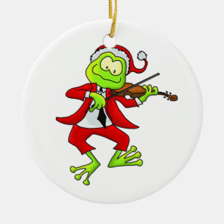Ornamento de la rana del violín de Santa Ornamento Para Reyes Magos