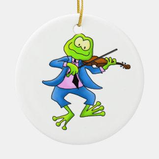 Ornamento de la rana del violín ornamentos de navidad
