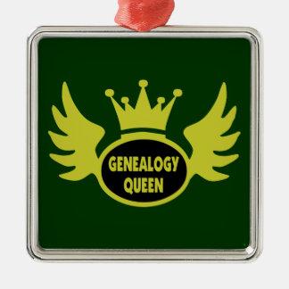 Ornamento de la reina de la genealogía adorno navideño cuadrado de metal