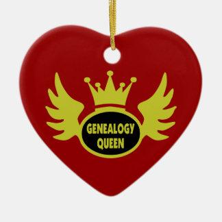 Ornamento de la reina de la genealogía adorno navideño de cerámica en forma de corazón