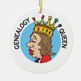 Ornamento de la reina de la genealogía adorno navideño redondo de cerámica