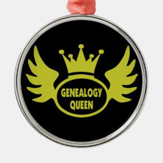 Ornamento de la reina de la genealogía adorno navideño redondo de metal