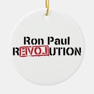 Ornamento de la revolución de Ron Paul Adorno Navideño Redondo De Cerámica