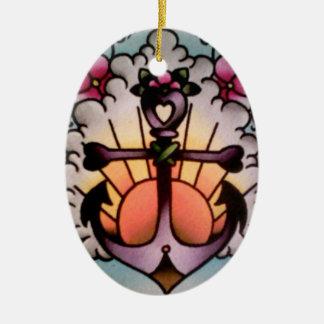 ornamento de la salida del sol del ancla adorno navideño ovalado de cerámica