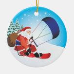 Ornamento de la snowboard de Santa Snowkite Adorno De Navidad