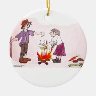 Ornamento de la sopa del clavo adorno navideño redondo de cerámica