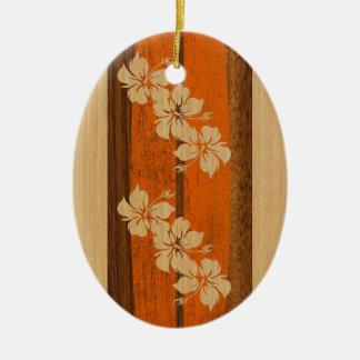 Ornamento de la tabla hawaiana del vintage de adorno ovalado de cerámica