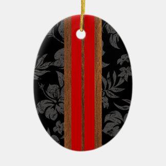 Ornamento de la tabla hawaiana del vintage de la adorno ovalado de cerámica
