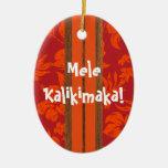 Ornamento de la tabla hawaiana del vintage de la p adorno de reyes