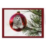 Ornamento de la tarjeta de Navidad del caniche