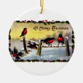 Ornamento de la tarjeta de Navidad del Victorian Adorno Navideño Redondo De Cerámica