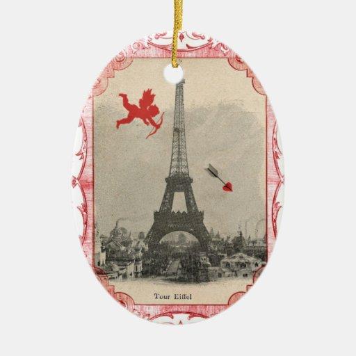 Ornamento de la tarjeta del día de San Valentín Adorno Navideño Ovalado De Cerámica