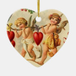 Ornamento de la tarjeta del día de San Valentín Adorno De Cerámica En Forma De Corazón