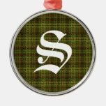 Ornamento de la tela escocesa del monograma adornos
