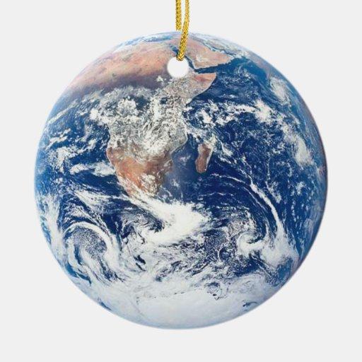 Ornamento de la tierra adorno navideño redondo de cerámica