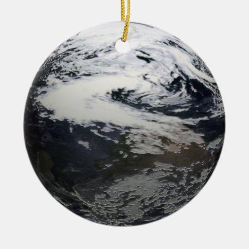 Ornamento de la tierra del planeta adorno navideño redondo de cerámica
