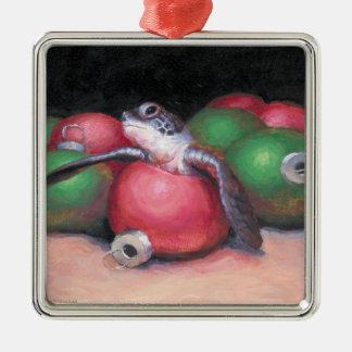 Ornamento de la tortuga de mar adorno navideño cuadrado de metal