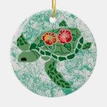Ornamento de la tortuga de mar de la flor del hibi ornamentos de reyes magos