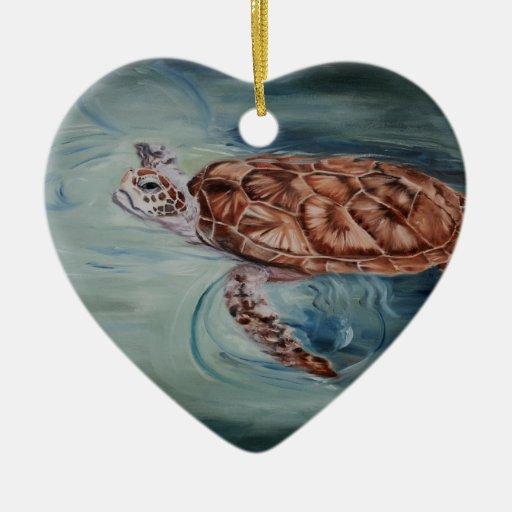 Ornamento de la tortuga de mar verde adorno para reyes