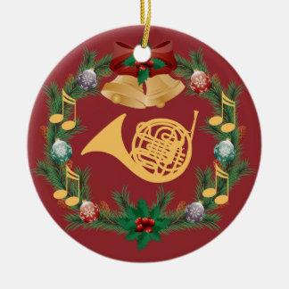 Ornamento de la trompa adorno navideño redondo de cerámica