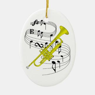 Ornamento de la trompeta adorno navideño ovalado de cerámica