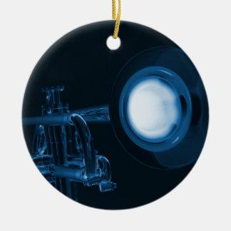 Ornamento de la trompeta adorno navideño redondo de cerámica