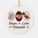 Ornamento de la trompeta del amor de la paz adorno de reyes