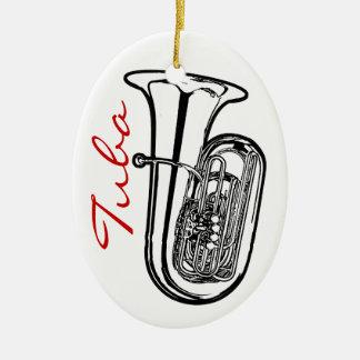 Ornamento de la tuba - óvalo adorno navideño ovalado de cerámica