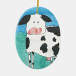 Ornamento de la vaca adorno navideño ovalado de cerámica