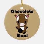 Ornamento de la vaca del MOO Kawaii del chocolate Adorno Navideño Redondo De Cerámica