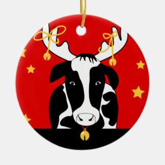 Ornamento de la vaca del navidad adorno navideño redondo de cerámica
