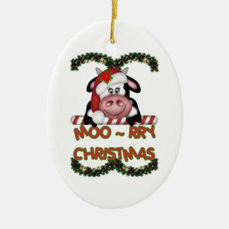 Ornamento de la vaca del navidad MOO-rry Adorno Navideño Ovalado De Cerámica