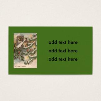 Ornamento de la vela del árbol de navidad del tarjeta de negocios