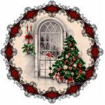 Ornamento de la ventana del navidad del vintage adorno fotoescultura
