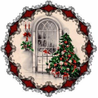 Ornamento de la ventana del navidad del vintage esculturas fotográficas