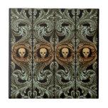 Ornamento de la verde salvia del gótico con el crá azulejos cerámicos