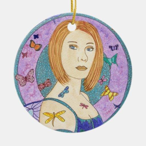 Ornamento de la yegua adorno navideño redondo de cerámica