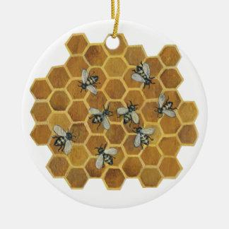 Ornamento de las abejas II de la miel Adorno Navideño Redondo De Cerámica