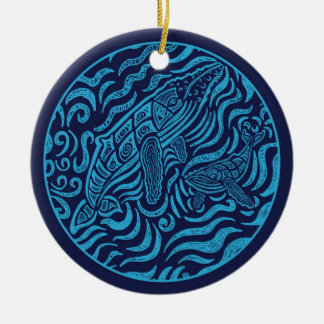 Ornamento de las ballenas jorobadas de la familia  ornamentos de navidad
