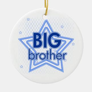 Ornamento de las estrellas azules del hermano adorno redondo de cerámica