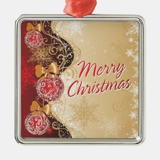 Ornamento de las Felices Navidad 4 Adorno Cuadrado Plateado