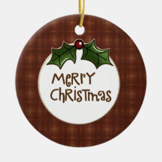 Ornamento de las Felices Navidad Adorno Navideño Redondo De Cerámica