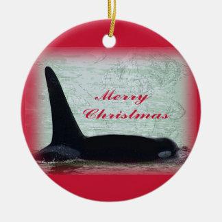 Ornamento de las Felices Navidad de la ballena de Ornamentos De Reyes
